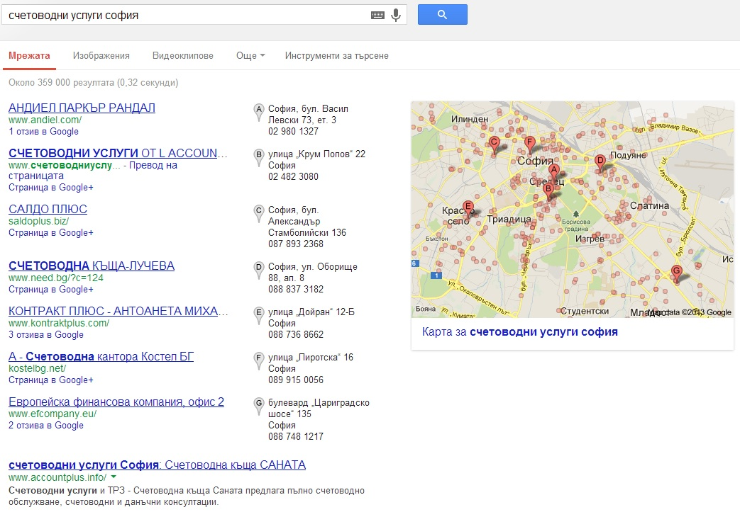 Google local listing in Bulgaria